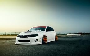 Picture Low, STI, WRX, Stance, White, Front, Sky, Subaru, Impreza