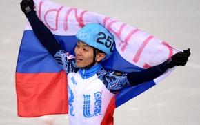 Picture flag, Olympics, gold medal, Olympic games, Sochi 2014, sochi 2014, Viktor Ahn, FIVE-TIME CHAMPION