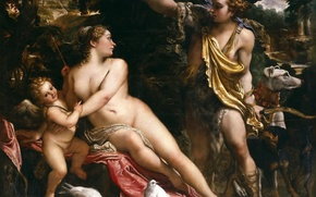 Picture picture, Venus, religion, genre, mythology, Annibale Carracci, Adonis and Cupid