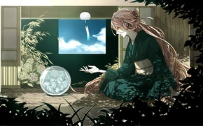 Picture the sky, water, girl, clouds, house, plants, art, kimono, vocaloid, Vocaloid, rakeru, fleedo