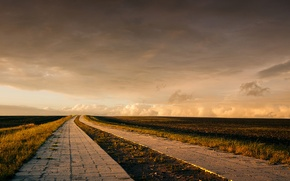 Wallpaper farm, horizon, field, clouds, road