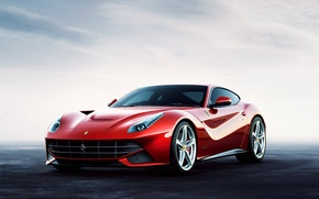 Picture car, red, red, supercar, ferrari, f12