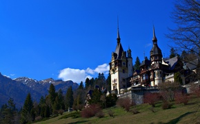Picture the sky, mountains, castle, slope