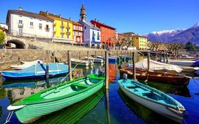 Wallpaper Switzerland, mountains, piers, home, Ascona, boats, lake, the sun, the sky, promenade, landscape, Ticino