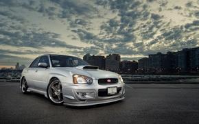 Picture silver, turbo, wheels, subaru, japan, wrx, impreza, jdm, tuning, power, front, sti, face, low