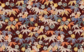 Picture leaves, flowers, background, Wallpaper, texture, garland, ornament, tassels