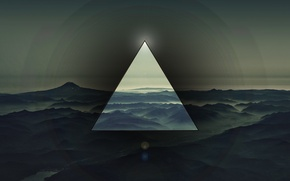 Picture triangle, mountains, background