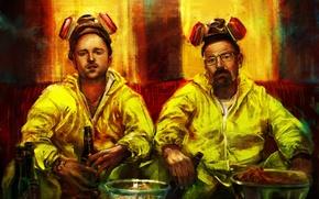 Picture beer, art, Breaking Bad, respirator, costumes, amc, Bryan Cranston, Walter White, Aaron Paul, Jesse Pinkman, ...