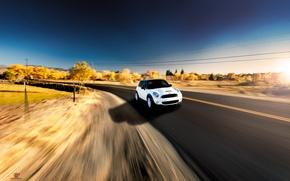 Picture road, white, speed, Cooper, mini, Cooper, MINI