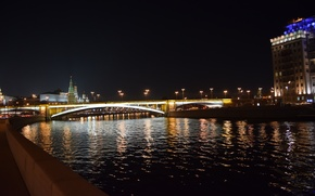 Picture bridge, lights, river, the evening, Moscow, The Kremlin, Russia, Russia, promenade, Moscow