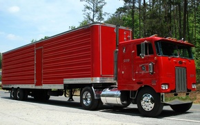Picture red, truck, the trailer, as, terminator, the truck, Peterbilt