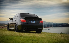 Picture the sky, grass, light, clouds, black, bmw, BMW, black, headlight, back, e60