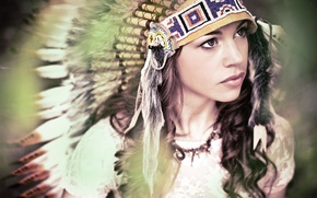 Picture eyes, look, girl, face, feathers, headdress