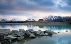 Picture mountains, lake, stones, house