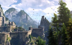 Wallpaper the sky, trees, mountains, Wallpaper, the game, RPG, The Witcher 3: Wild Hunt, The Witcher ...