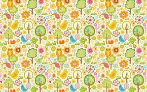 Wallpaper children, trees, birds, owl