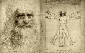 Picture figure, artist, Leonardo da Vinci, scientist, Vitruvian man