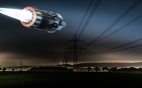 Picture night, UFO, power lines