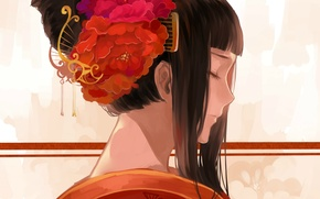 Picture comb, hairstyle, geisha, profile, closed eyes
