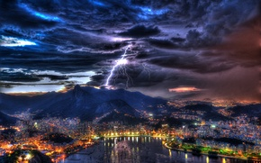Picture the storm, the sky, landscape, night, clouds, lights, lightning, home, boats, Bay, harbour, Brazil, Rio …