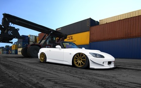 Picture Honda, Car, Sky, Photoshop, Front, White, S2000, Tuning, Port, Gold, Wheels, Asphalt
