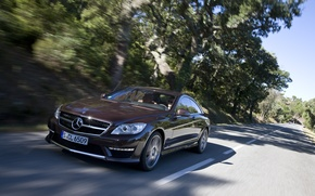 Picture road, trees, coupe, Mercedes-Benz, Mercedes, the front, Burgundy, CL-class