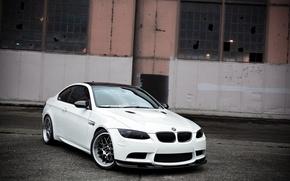 Wallpaper white, bmw, BMW, white, wheels, abandoned building, bbs, e92