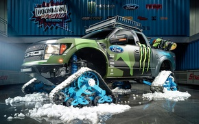 Picture Ford, Racing, Monster Energy, Ken Block, Division, F-150, 2014, Hoonigan, RaptorTRAX