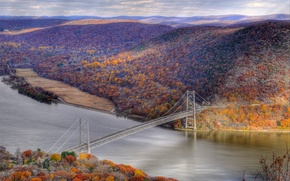 Picture autumn, forest, the sky, mountains, bridge, river, slope