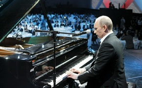 Picture music, Wallpaper, Putin, microphone, piano, plays, Vladimir Putin, Prime Minister of Russia, the President of …