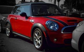 Picture Red, Lights, Mini Cooper, MINI, The front, Mini Cooper