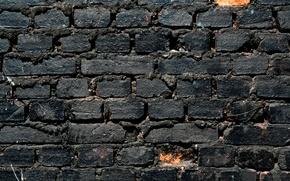 Picture wall, white, black, bricks, pattern