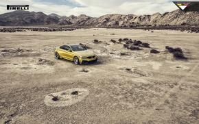 Picture BMW, Car, Vorsteiner, Yellow, Pirelli, Wheels, 2015, Skid, GTRS4