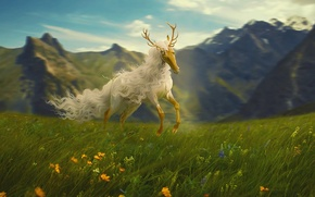 Picture flowers, mountains, horse, fantasy, meadow, by Neverrmind