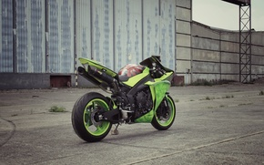 Picture asphalt, strip, green, motorcycle, green, yamaha, rear view, bike, Yamaha, yzf-r1