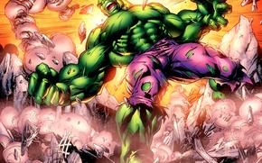 Picture anger, green, the crash, rage, destruction, Hulk, Hulk, marvel, comic, comics