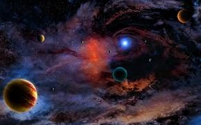 Picture nebula, the universe, planet