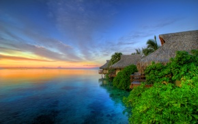 Wallpaper The island of Moorea, Tahiti, Sunset