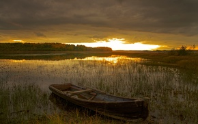 Picture sunset, Russia, North, Kenozerie
