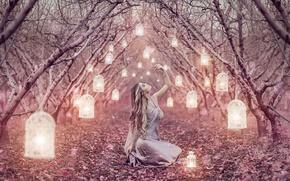Picture girl, alley, lanterns, Alessandro Di Cicco, Magic Lanterns