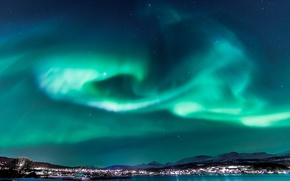 Picture the sky, stars, light, night, the city, Northern lights, Norway