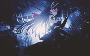 Picture girl, weapons, skull, sword, anime, tattoo, art, tape, dinocojv
