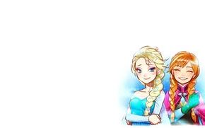 Picture cartoon, minimalism, Frozen, Princess, Anna, sisters, Elsa, Princess Anna, Cold heart, Fairy Tales, Elsa the …