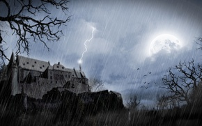 Picture the storm, night, castle, the full moon, the shower, Damn place