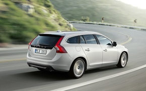 Picture White, Volvo, Volvo, V60, Back