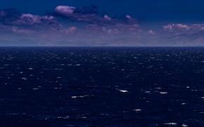 Picture sea, ocean, coast, seascape, mountains, clouds, seashore