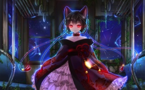 Picture girl, night, collar, ears, red eyes, art, Itto Maru