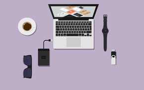 Picture table, coffee, comp, glasses, Cup, usb, USB flash drive, watch
