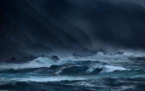 Picture african, rocks, coast, storm, George Veltche, blue, sea, wave, twilight, twilight, the evening, rocks, sky, ...