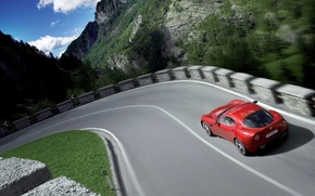 Wallpaper road, auto, nature, speed, alfa-romeo